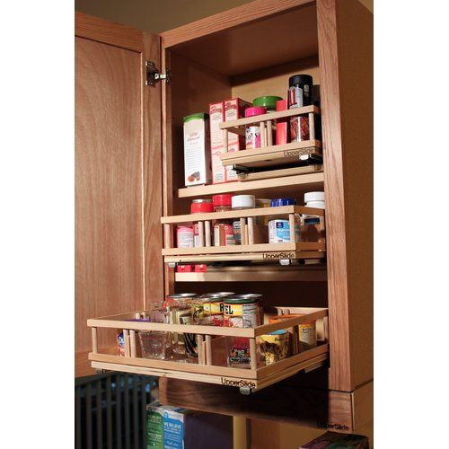 Upper Cabinet Spice Rack Caddy Medium Pull Out Drawer Cabinet