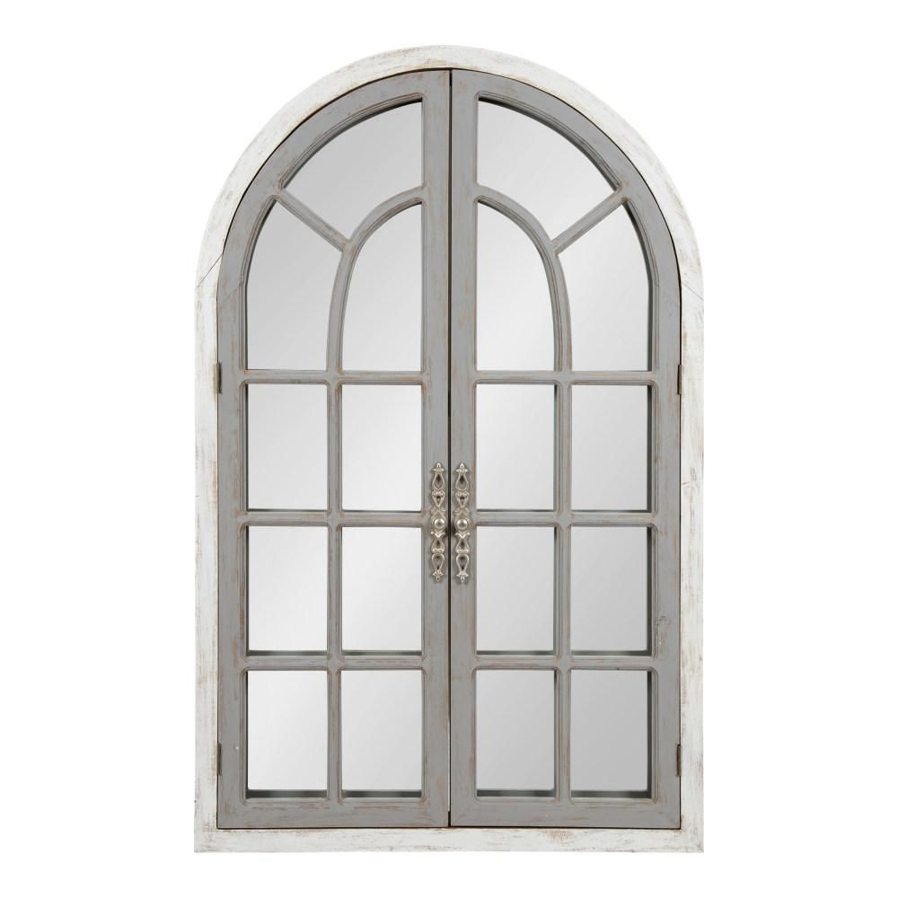 Kate And Laurel Boldmere Arch White Gray Wall Mirror 213978 Grey Wall Mirrors Arch Mirror Rustic Contemporary