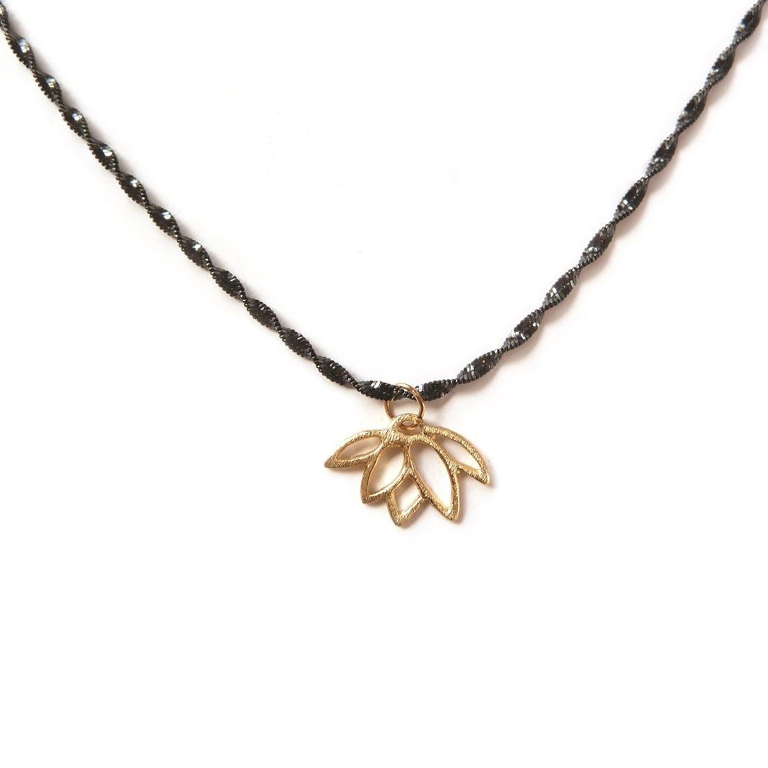 Easy To Make Yoga Necklace With Gold Vermeil Lotus Flower Charm