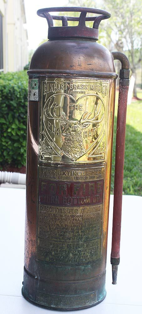 Antique Copper & Brass Elkhart Fire Extinguisher - We had