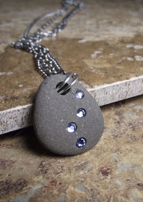 Photo of SALE – Beach Stone Jewelry – Path of Enlightenment  – Beach Rock and Swarovski Crystal Necklace