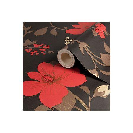 Tatami Floral Black Red Wallpaper Departments Diy At B Q Red Wallpaper Black And Red Black Floral