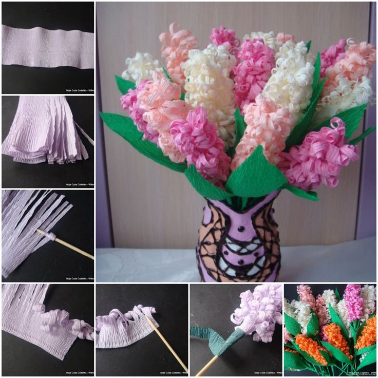 How to DIY Beautiful Crepe Paper Hyacinth Flower Bouquet | www ...