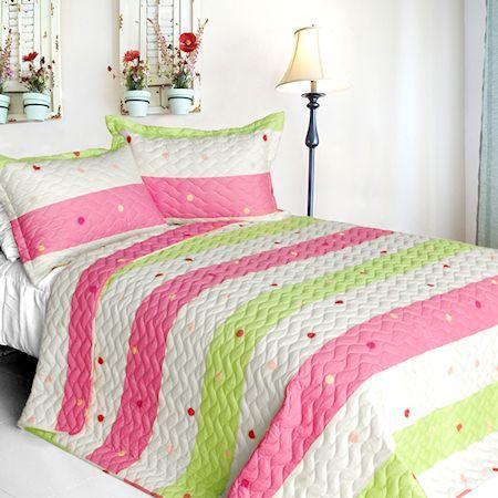 Pink Lime Green Dot Striped Girls Bedding Twin Fullqueen King Quilt