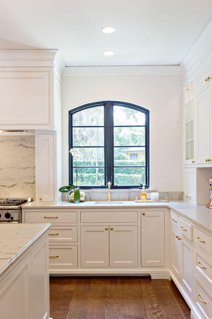 white kitchen with black steel windows   gorgeous whitekitchen ...