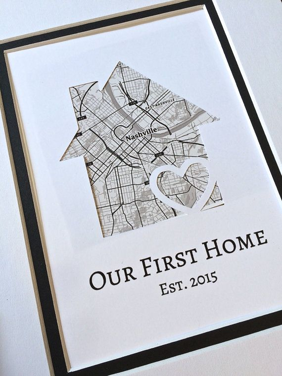Our First Home- Personalized Home Map Matted Gift-