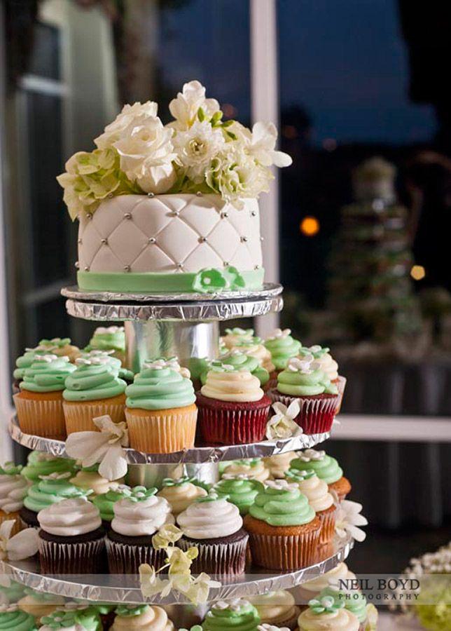 Green U0026 White Wedding Cake And Cupcakes. Piece Of Cake Bakery Raleigh, NC.