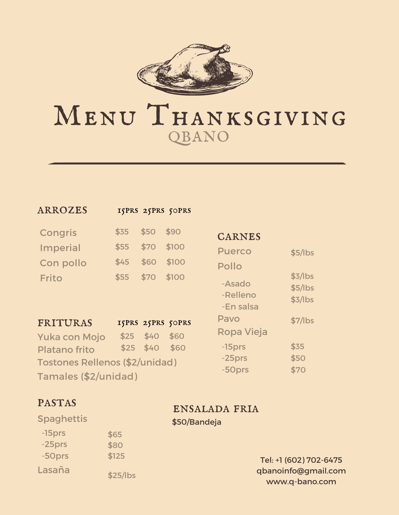 QBANO is here with a new menu for Thanksgiving, delicious