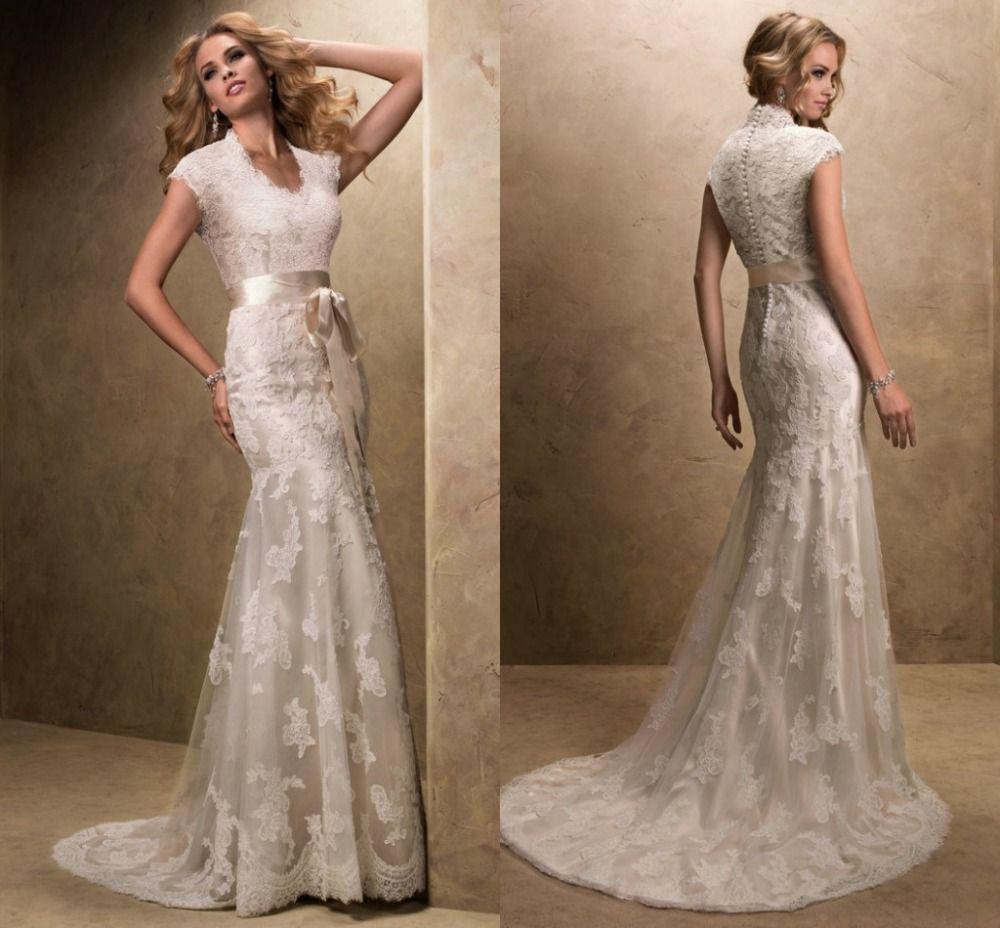Modest wedding dress with sleeves vintage v neck vestidos de novia