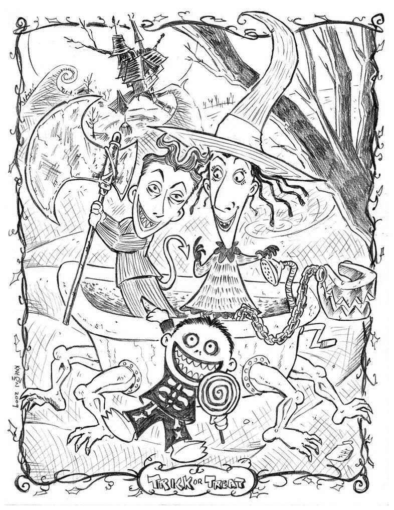 Halloween Coloring Pages Trick Or Treat Halloween Tekeningen Kleurplaten Halloween