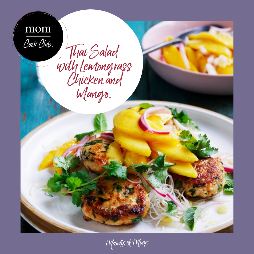 Anyone still able to buy a fresh mango now?  If not, try some frozen mango cheeks for this recipe.  We're thinking they'll be just as delicious in this recipe!  . . #momcookclub #mouthsofmums #nomnom #easyrecipe #delish #homemade #closetohome #sogood #mango #thaisalad #sofresh #chicken #thaichicken