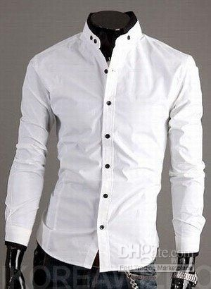 Cheap Mens Shirts Men Fitted Shirt Men's Handsome Shirt Men White ...