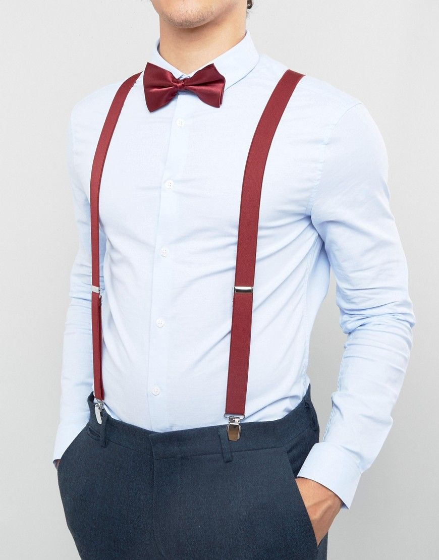 097cfc5c8a99 Wedding bow tie and suspenders gift set in burgundy in 2019 | Mens ...