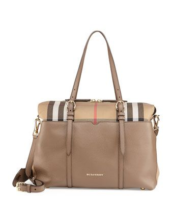 a1b4f87198 Check-Canvas   Leather Diaper Tote Bag by Burberry at Neiman Marcus ...