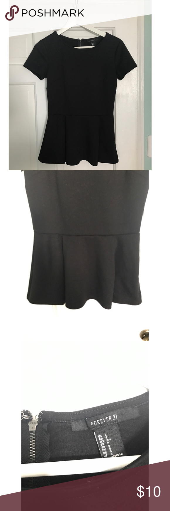 Forever 21 Peplum Top This is a black peplum top from forever21 with a zipper on the back to cinch you in as per the third photo. Forever 21 Tops Blouses