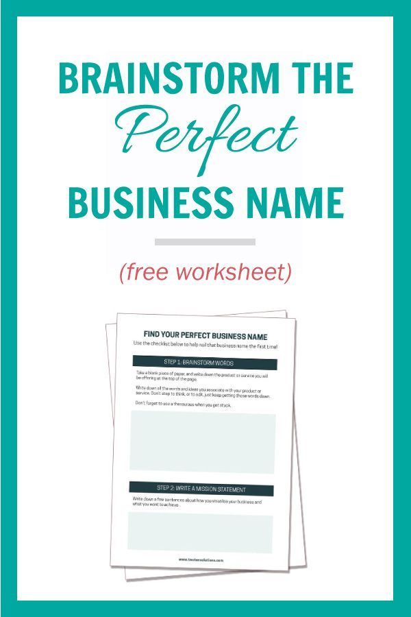 A Guide To How To Brainstorm The Perfect Business Name  Free