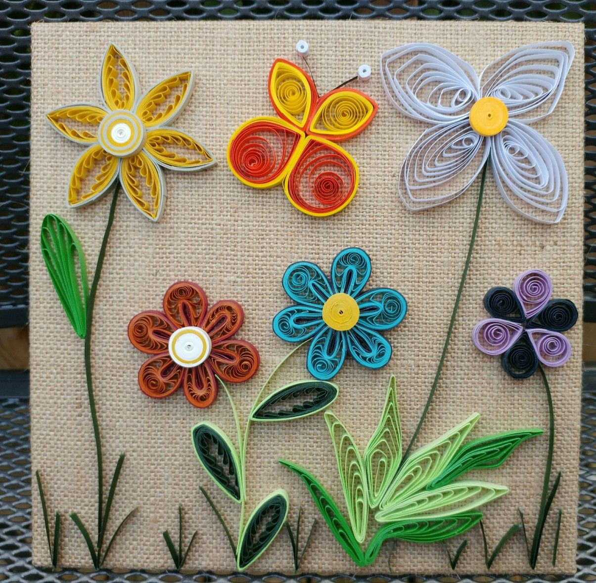 Windy's quilled canvas white, blue, purple and orange flowers with butterfly 07-09-17
