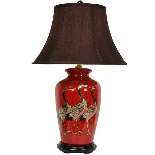 Oriental Furniture Crowned Cranes Vase Lamp in Antique Red