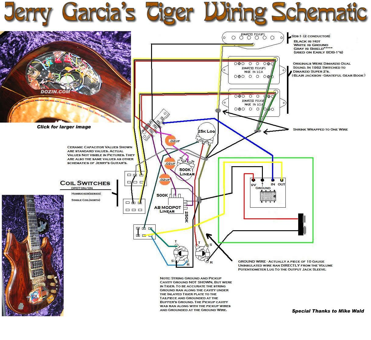jerry garcia s tiger schematic mod music guitar kits telecaster guitar guitar pickups  [ 1218 x 1115 Pixel ]