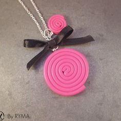 *** sautoir réglisse rose gourmand bonbon fimo ** by ryma