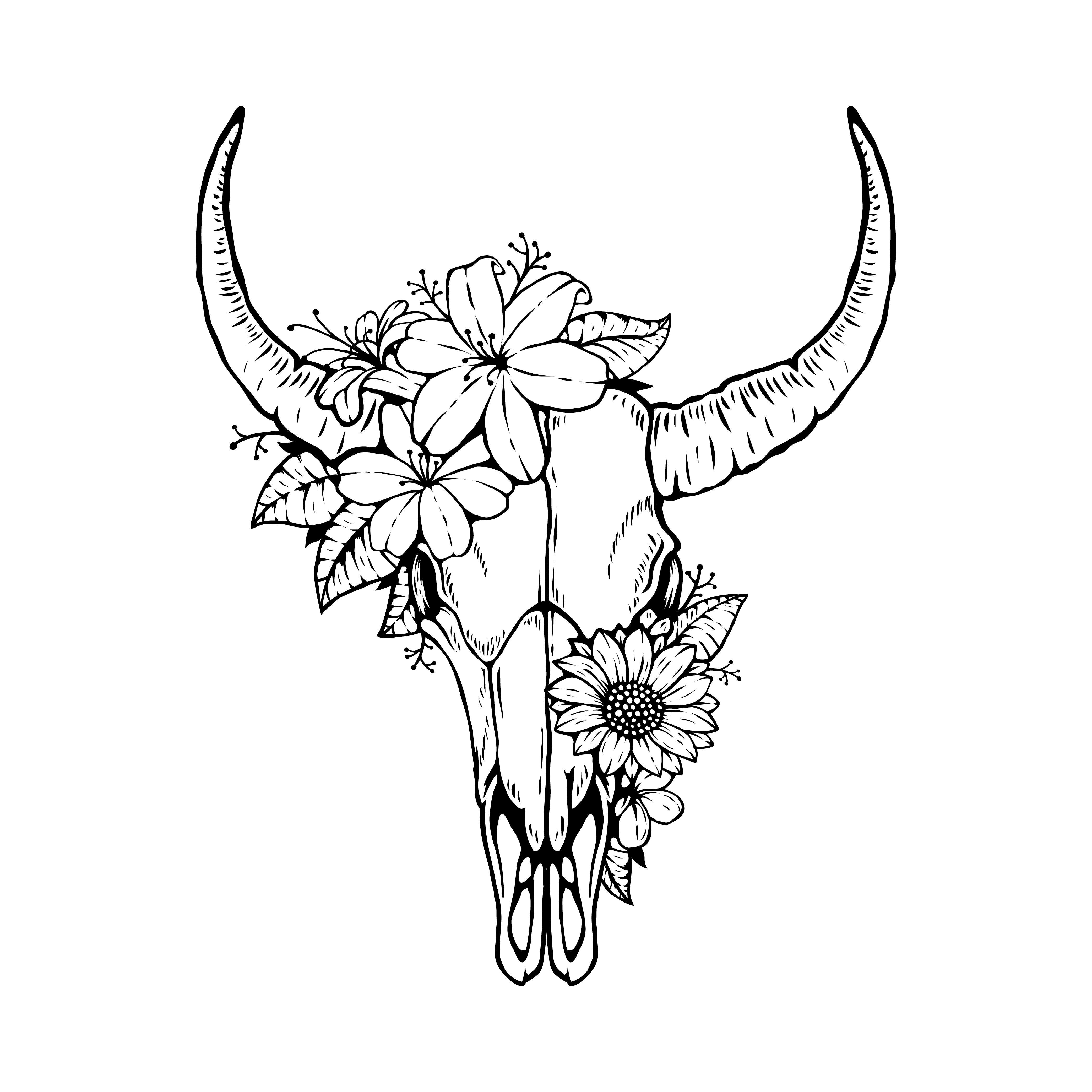 animal bull skull head with floral design