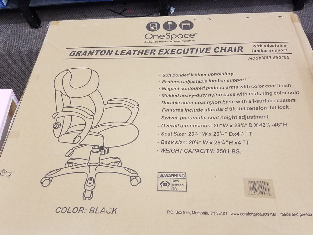 Black Leather Executive Office Desk Chair Lumbar Supp Comfort Products 60 582105 Executive Office Desk Office Desk Chair Desk Chair