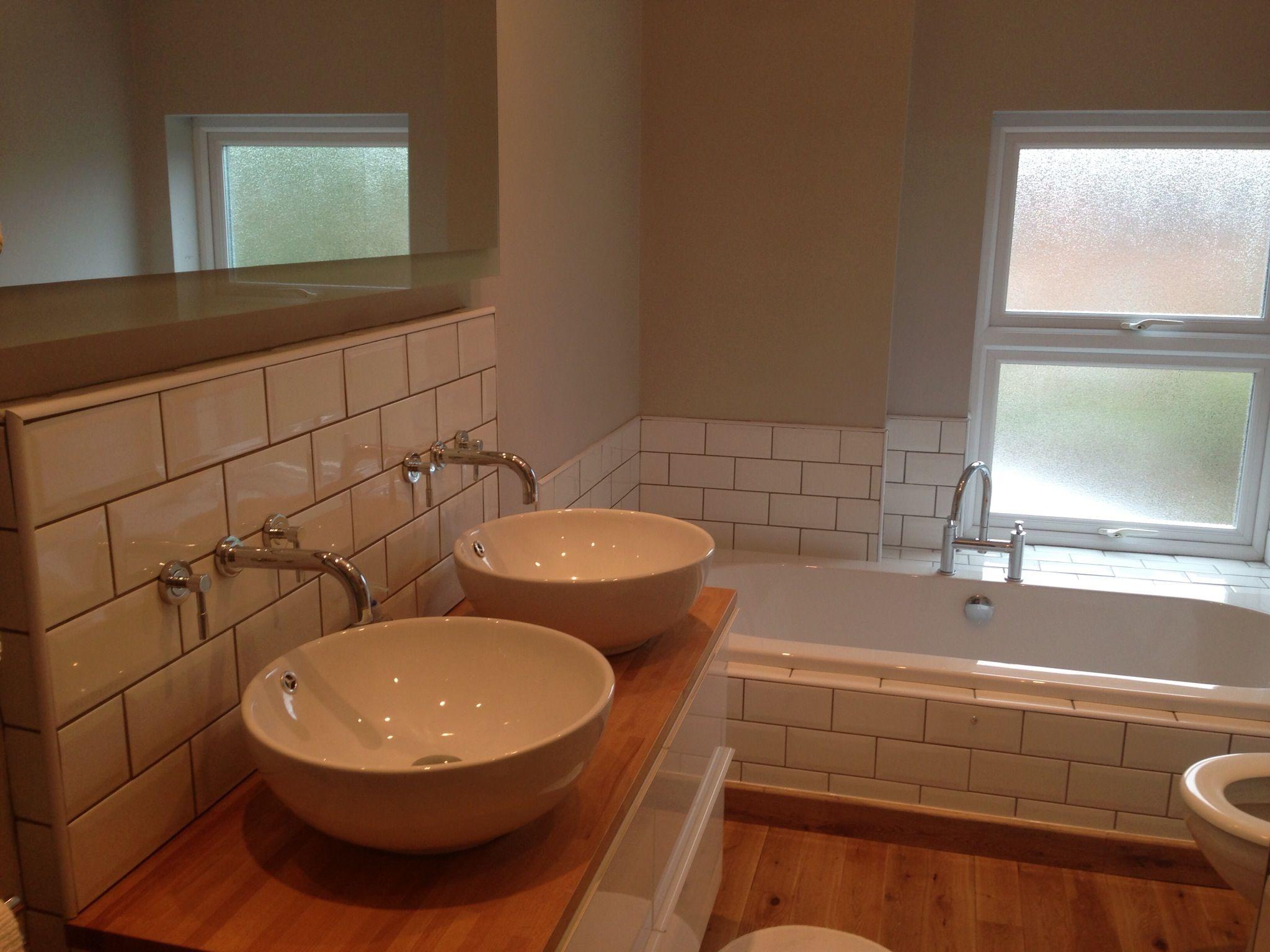 My new bathroom! Crown matt emulsion in Soft Shadow. Sinks from ...