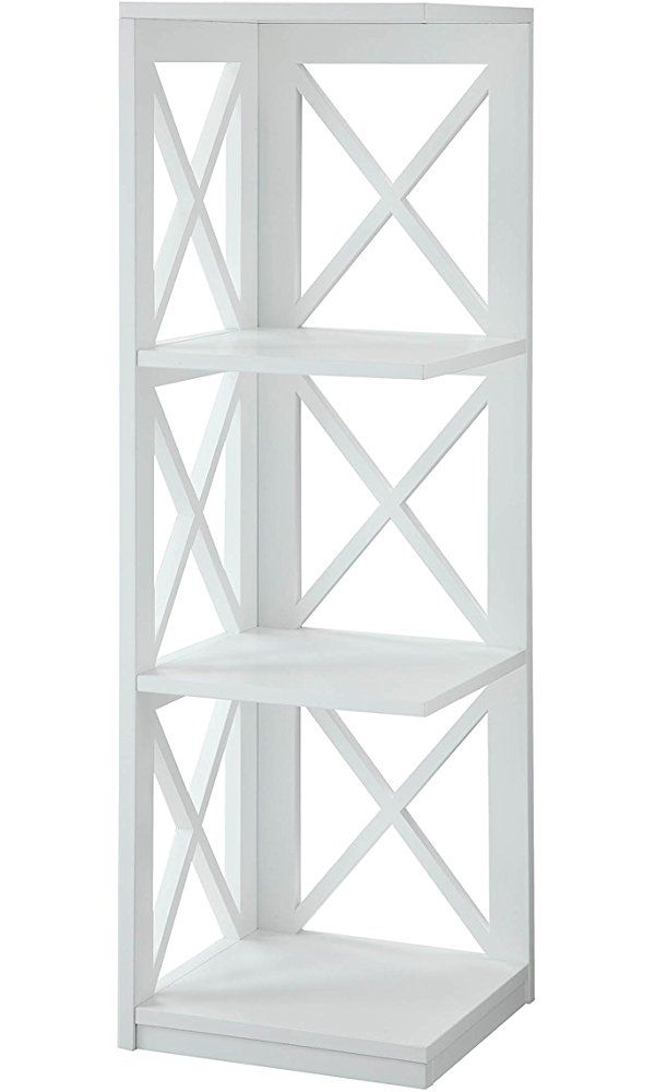Convenience Concepts Oxford 3 Tier Corner Bookcase White Best Price Home Products And Gifts Wall Mirror With Shelf Lighted Wall Mirror