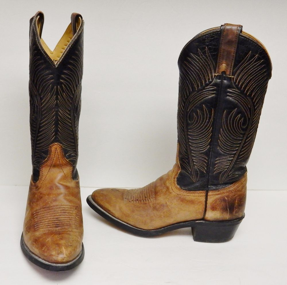 12b0b5a79ff Vintage WRANGLER Men's Western Cowboy Boots Black Brown Made in USA ...