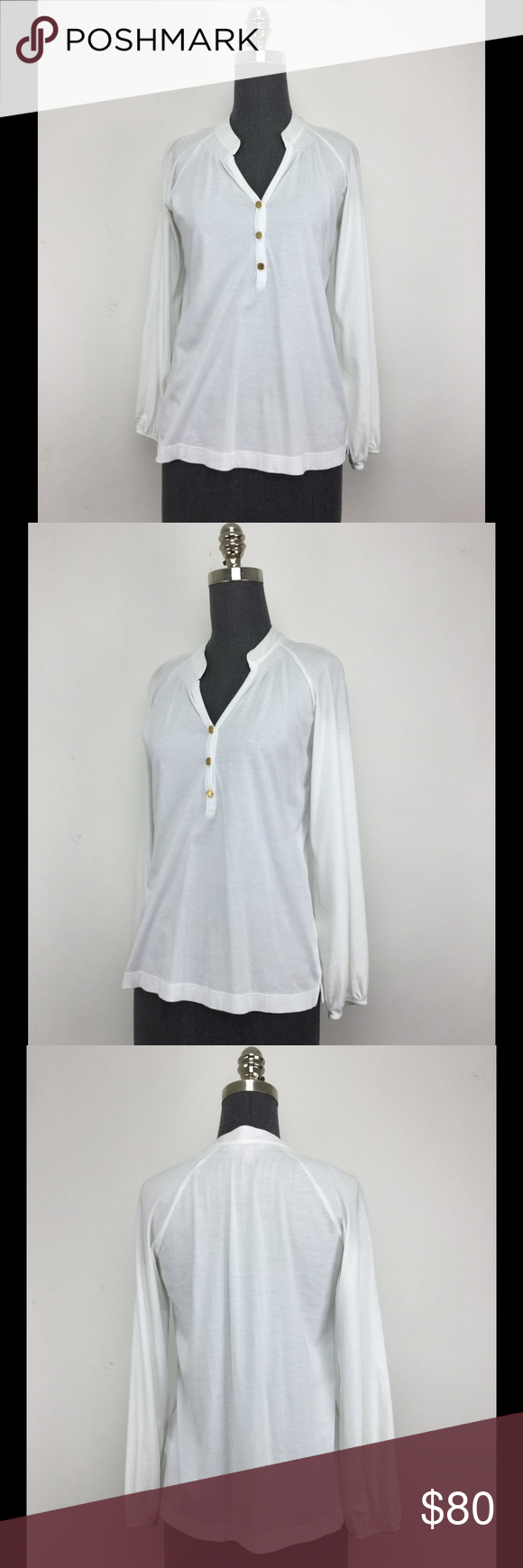 Lilly Pulitzer Mid-button Down Blouse This is a Lilly Pulitzer mid-button down white blouse. Features gold buttons and a cinched neckline. Lilly Pulitzer Tops Blouses