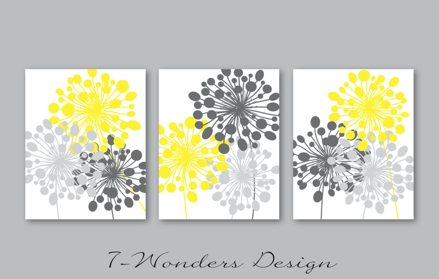 Abstract Floral Dandelion Art Prints Set of (3) 5x7, 8x 10 or 11x14 ...