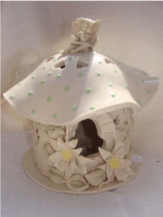 Whimsical Fairy Night Light House Hand Built From Clay