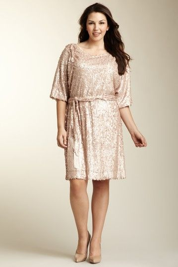 Jessica Simpson Belted Sequin Dress Plus Size