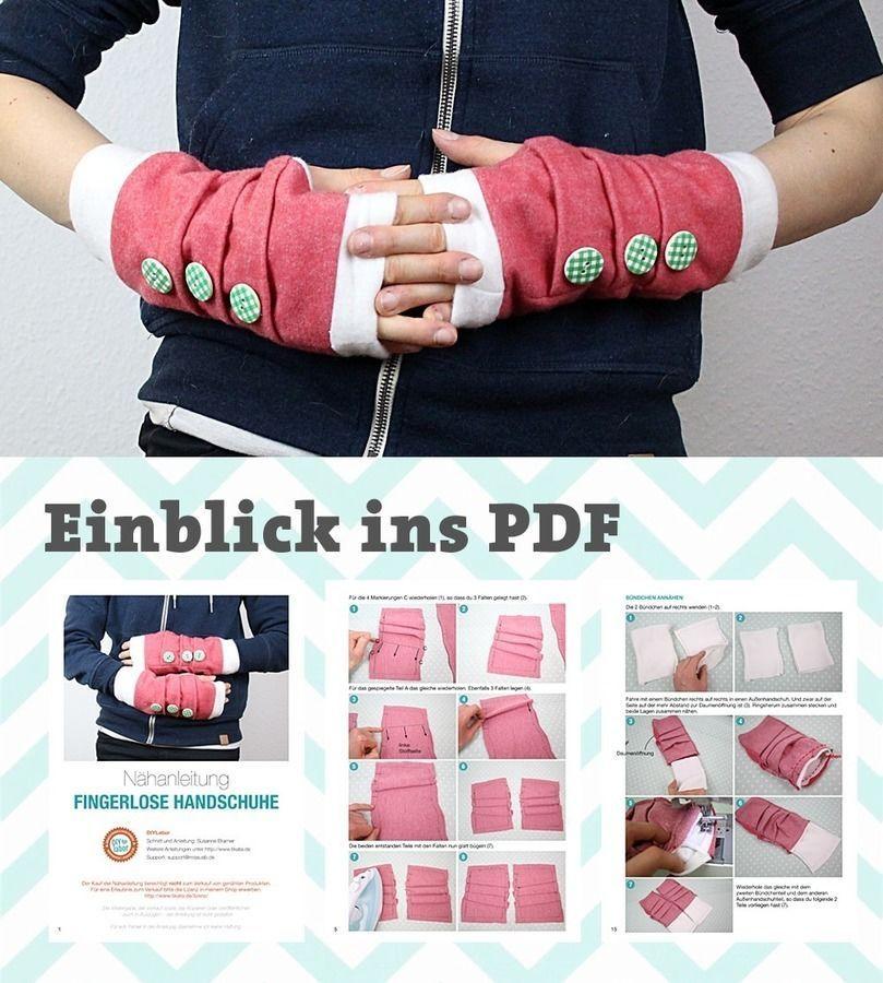 Nähanleitung Stulpen | fingerlose Handschuhe nähen | Handschuhe ...