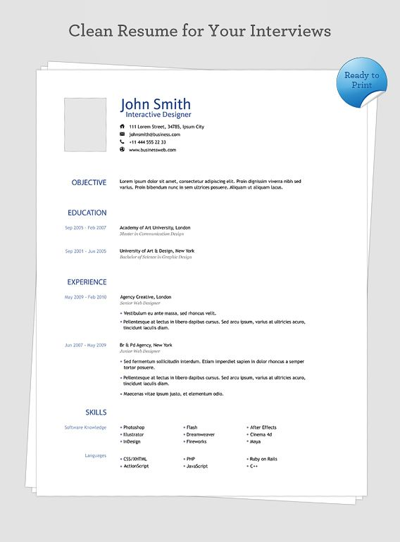 Clean Resume Free PSD Template Pinterest Psd templates and Template