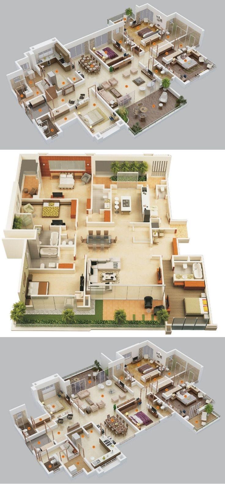 Apartment / Hauspläne mit 4 Schlafzimmern 4 bedroom