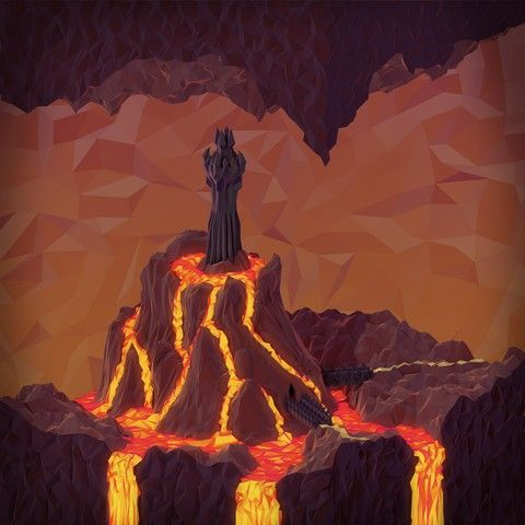 Citadel Cavern (Day) by JR Schmidt - A citadel rose from the menacing landscape, devoid of life and seething with evil. [Via NeonMob]