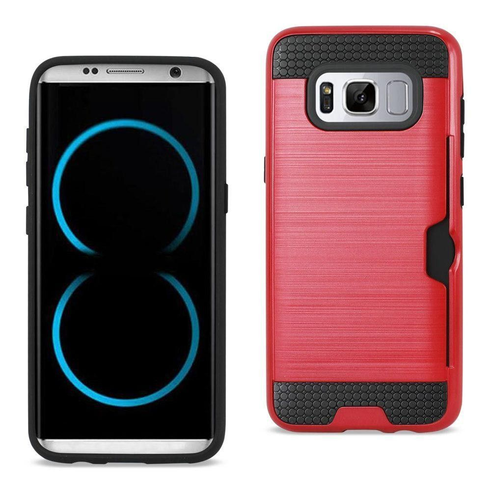 Reiko REIKO SAMSUNG GALAXY S8 SLIM ARMOR HYBRID CASE WITH CARD HOLDER IN RED