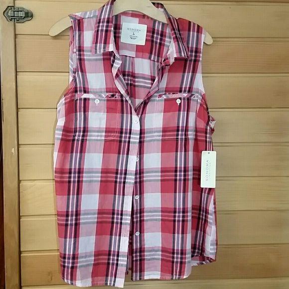 NWT plaid top Cute, casual, red, 100% plaid shirt. Sonoma  Tops Button Down Shirts