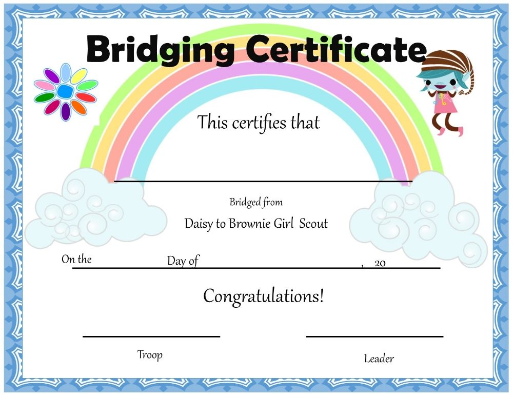 daisy girl scouts end of the year certificates