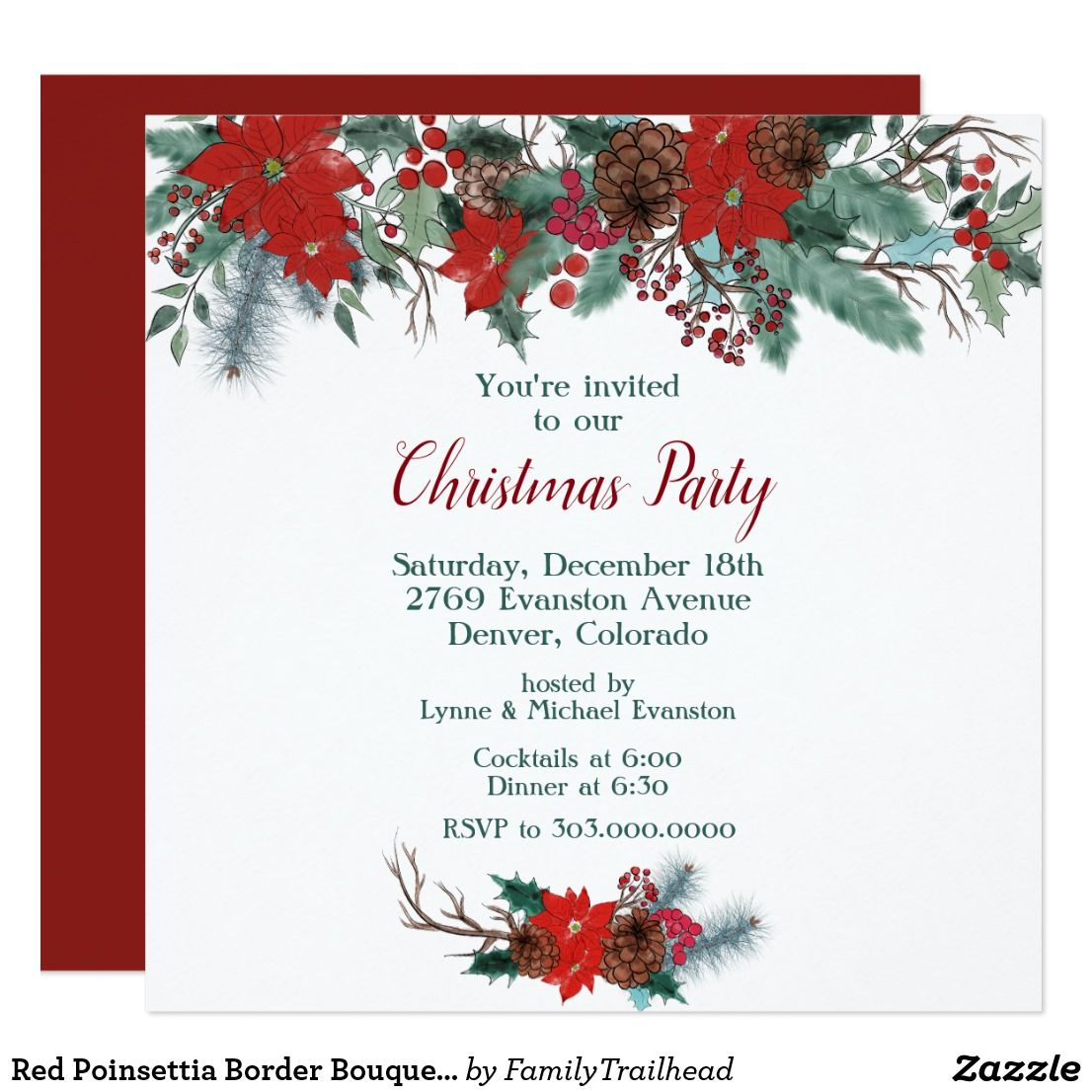 Red Poinsettia Border Bouquet Christmas Party Invitation Zazzle