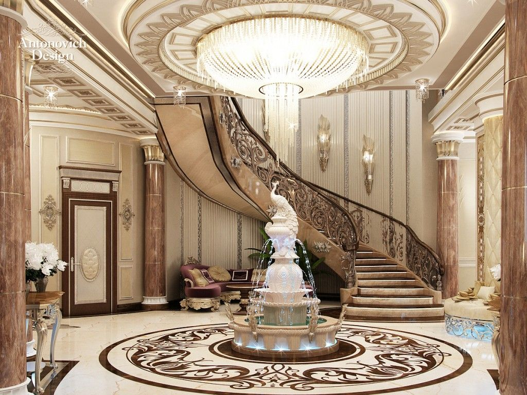 hall design luxurious penthouse in turkey 2 1024x768 jpg 1024 768 exquisite regal luxury mansion interior foyer design with centralized fountain statue