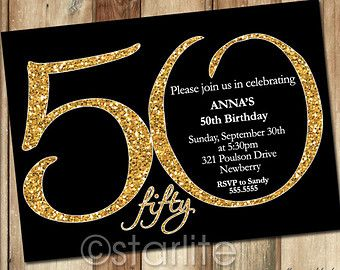 Milestone birthday invitation modern number gold glitter black 50th birthday invitation gold glitter filmwisefo Choice Image