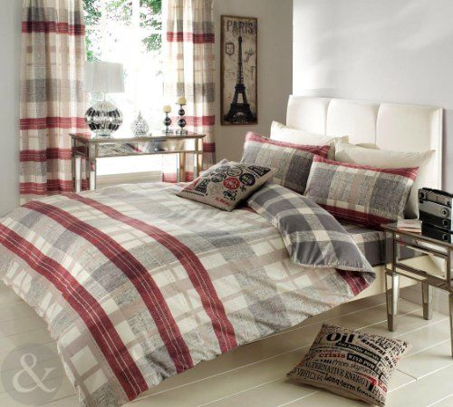 Striped Check Duvet Cover Reversible Bedding Cotton Blend Modern Bed Set Natural Grey Burgundy Red C Cool Beds Matching Bedding And Curtains Bed Linen Sets