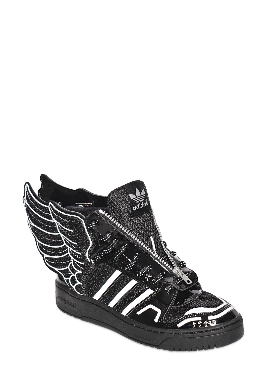 finest selection abc42 f04ba ジェレミースコット(JEREMY SCOTT)ブラックポリウレタンスニーカー ADIDAS BY JEREMY SCOTT - JS WINGS  2.0 MESH HIGH TOP SNEAKERS - BLACK