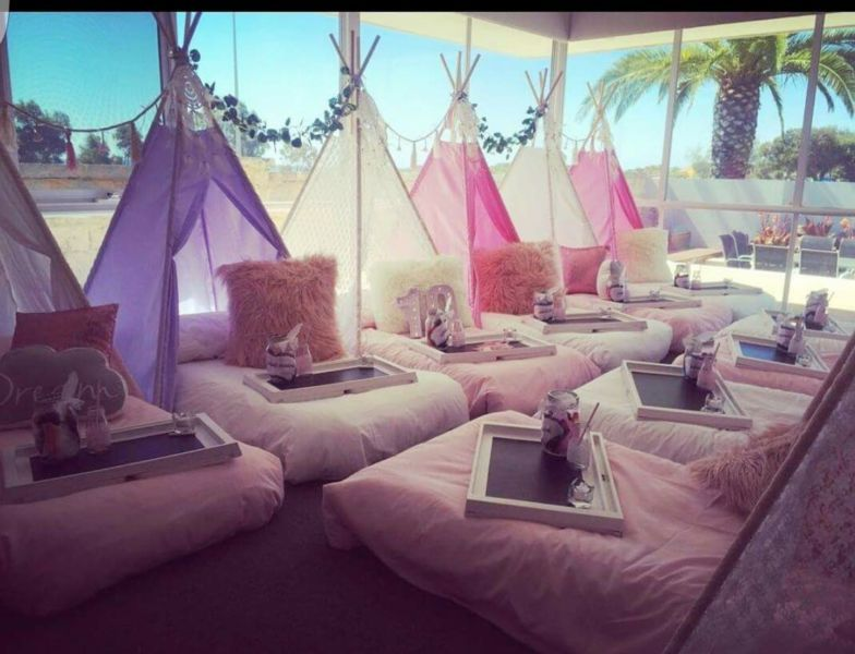 Teepee slumber party hire package party hire gumtree for 20 year old bedroom ideas