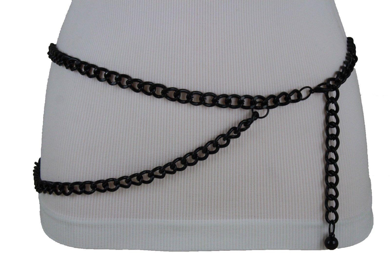 Women Black Silver Elastic Fashion Belt Leopard Animal Print Hip Waist XS S M