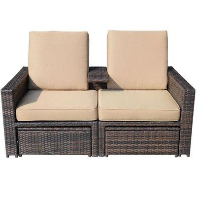 outsunny 3 pc wicker loveseat patio set canada online at shop ca
