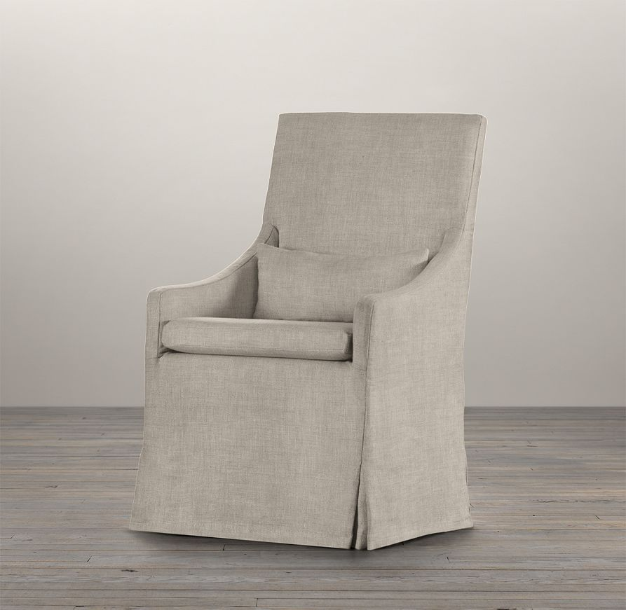 Slipcovered Slope Arm Dining Armchair   Fabric Arm & Side Chairs   Restoration Hardware
