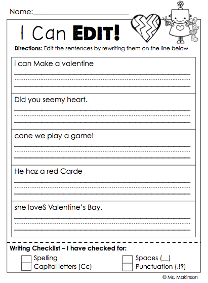 February Printables - First Grade Literacy And Math First Grade Writing, First  Grade Classroom, 1st Grade Writing